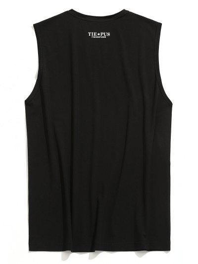 T-shirt sem mangas com decote em V gráfico - Preto Xl