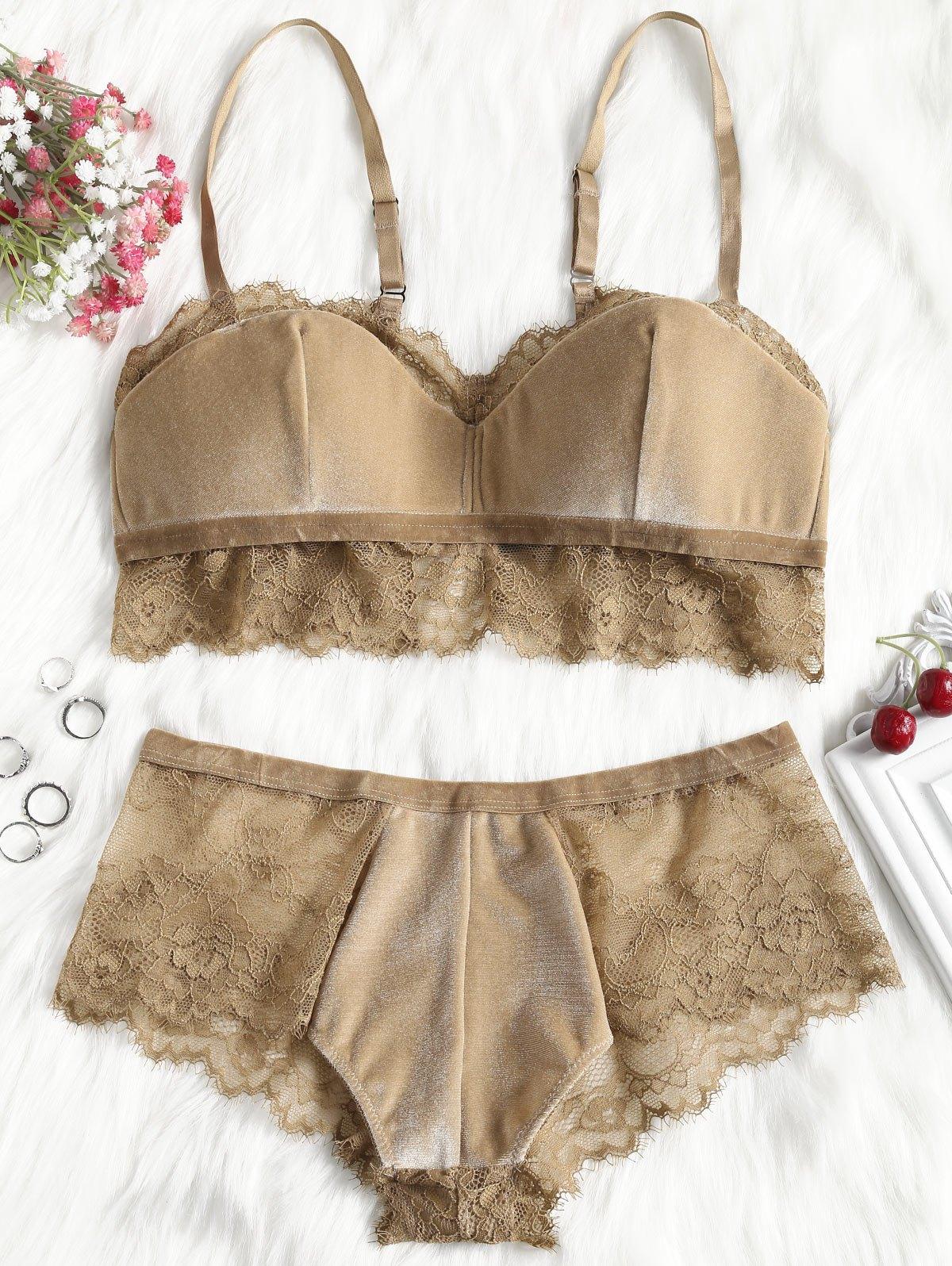 Lace Trim Velvet Balconette Bra Set 257350503