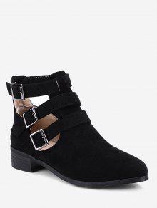 حذاء الكاحل مفتوح من الجانبين ذو أحزمة - أسود 40