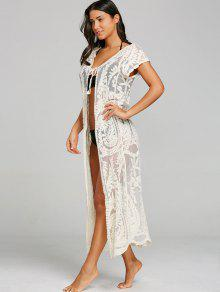 61f8419f01a ... Short Sleeve Sheer Lace Embroidery Cover Up ...