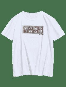 Blanco Passion Manga Camiseta Graphic 2xl De Corta Estampada zq4qP