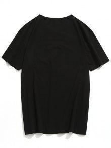 L Estampada Con Camiseta Negro Letras xI1xd4Oqw