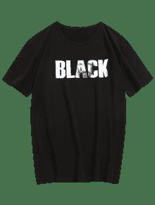 Estampada Negro L Con Camiseta Letras dqnZdt6gx
