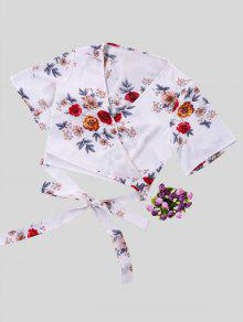 Floral bedruckte Crop Wrap Bluse