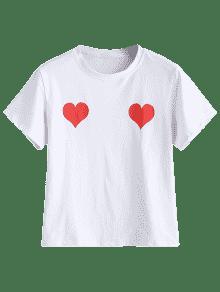Blanco Corta Corazones Manga S Camiseta De Con De Estampado T6Sg1
