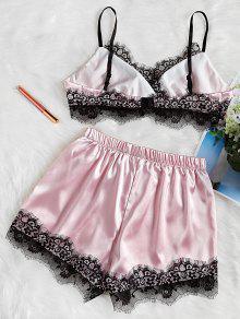 Pijama Y 233;n Conjunto De L Cordones Cami Con De Rosado Encaje Sat 45O5Zwq