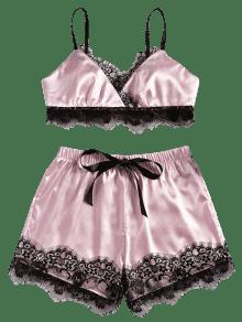Pijama De Con De Y Conjunto Sat Cordones Encaje qEwOUwTZ5