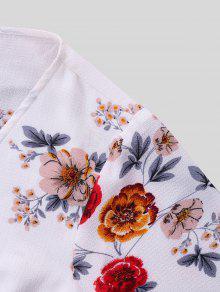 De Con S Estampado Blanco Estampada Flores Blusa 7CqtTwn