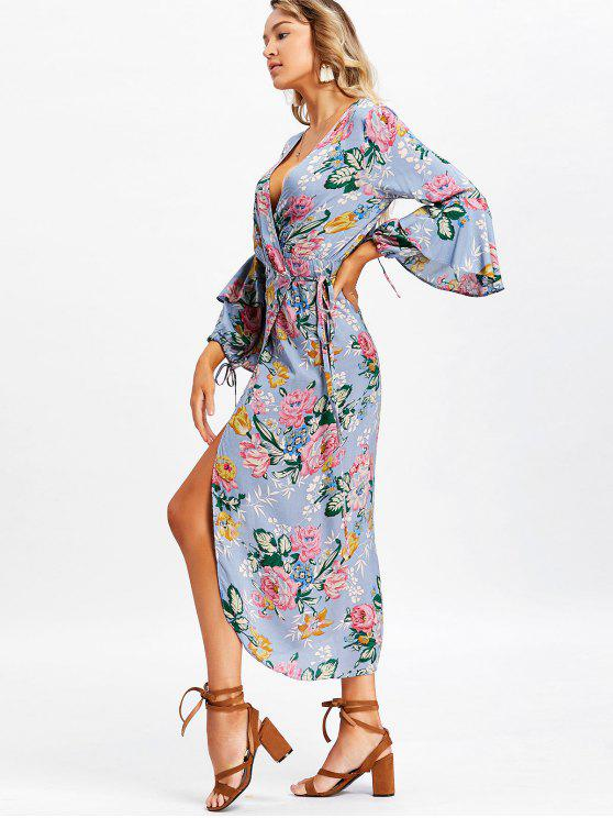 sale Long Sleeve Floral Frilled Wrap Maxi Dress - STONE BLUE M