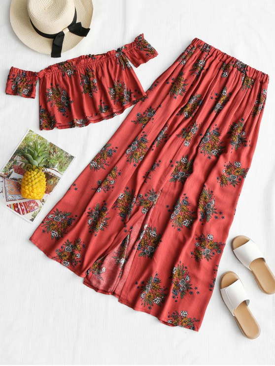 online Printed Off Shoulder Top with High Slit Skirt - RUSSET-RED S
