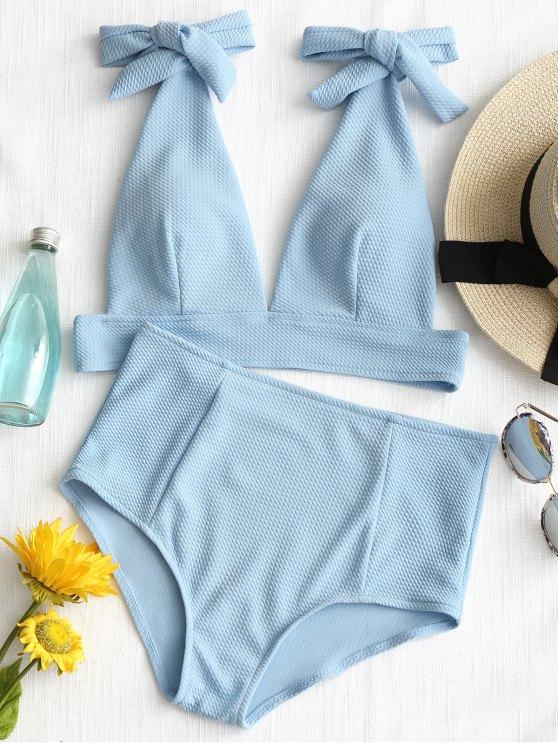 trendy Tied Plunging Neck High Waisted Bikini - AZURE M