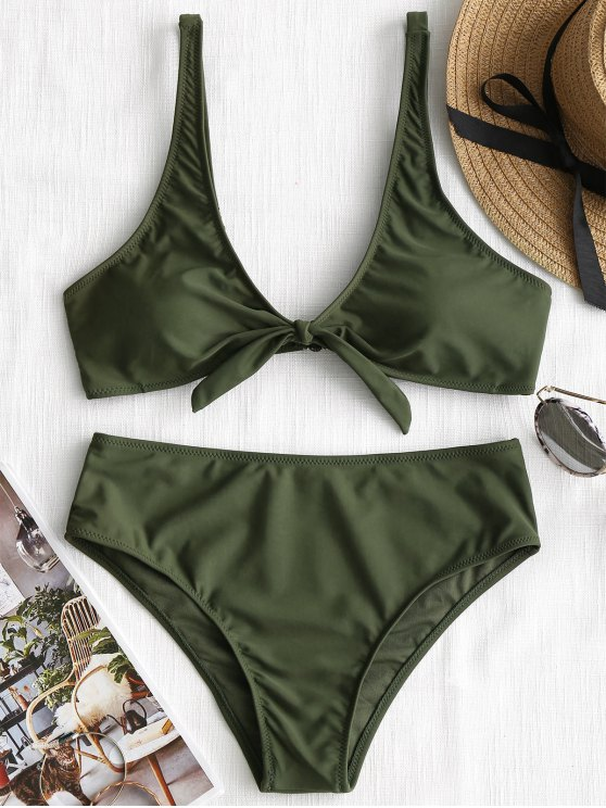 unique Scoop Knotted Bathing Suit - ARMY GREEN M