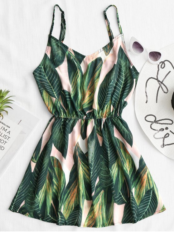 latest Tropical Leaf Print Cami Cover Up Dress - GREEN S