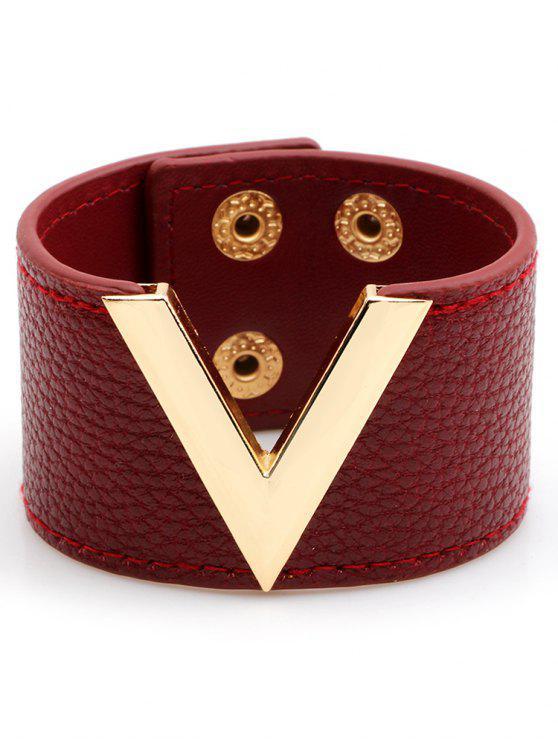 V-Form Kunstleder Breites Armband - Rot