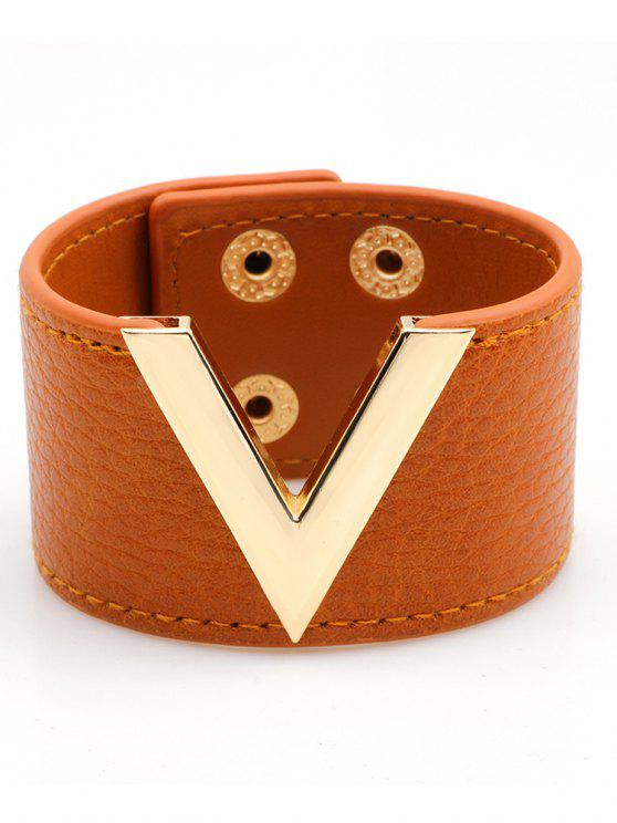 fancy V-Shape Faux Leather Wide Bracelet - YELLOW ORANGE