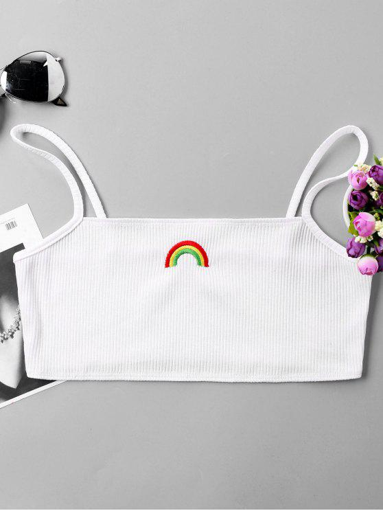 shops Rainbow Embroidery Crop Slip Top - WHITE XL