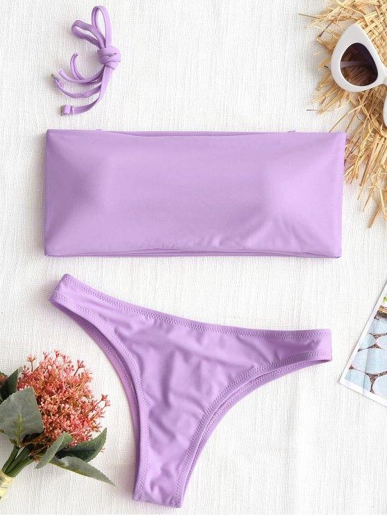 women's High Cut Bandeau Thong Bathing Suit - LIGHT PURPLE XS