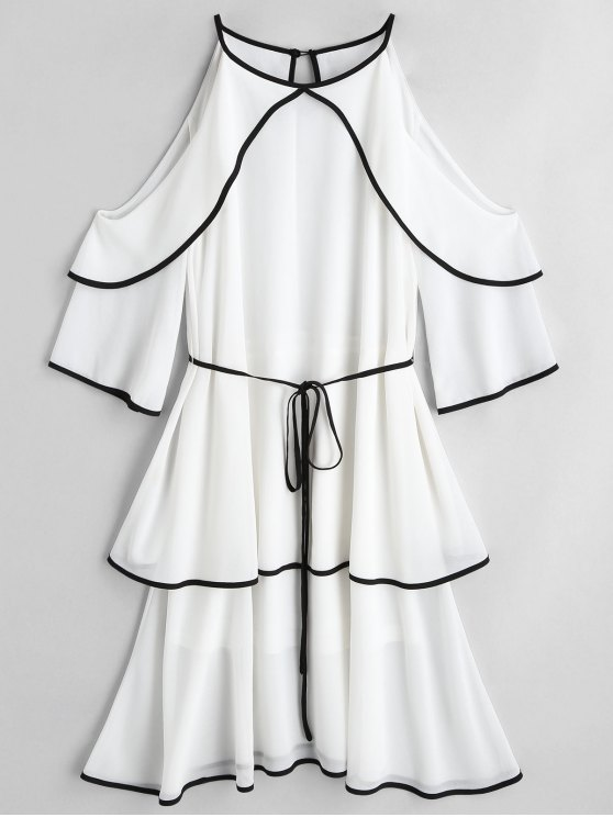 ladies Cold Shoulder Tiered Belted Dress - WHITE M