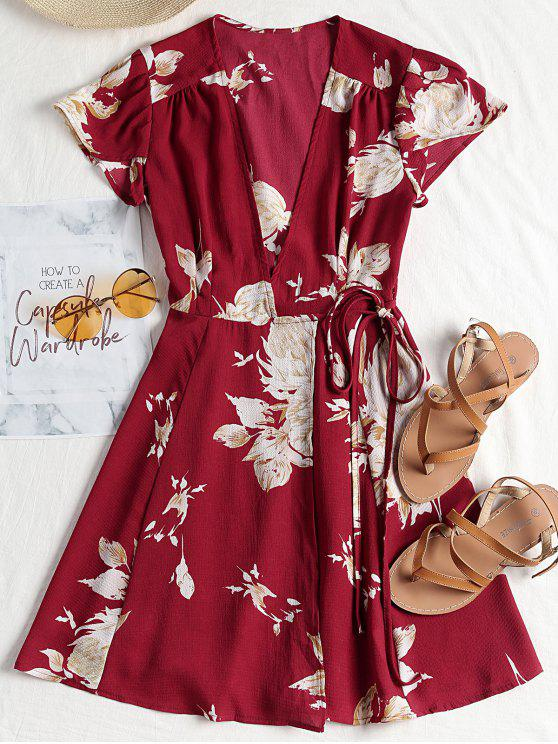 shop Cap Sleeve Wrap Mini Tea Dress - CLARET S