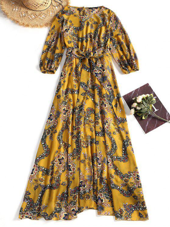 ladies Printed Chiffon Maxi Prom Dress - MUSTARD M