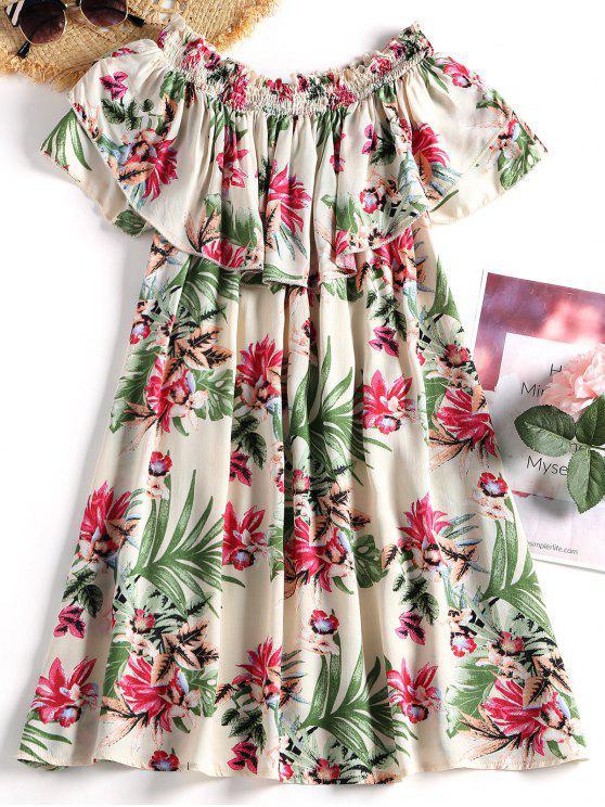 unique Floral Print Off The Shoulder Mini Dress - BEIGE L