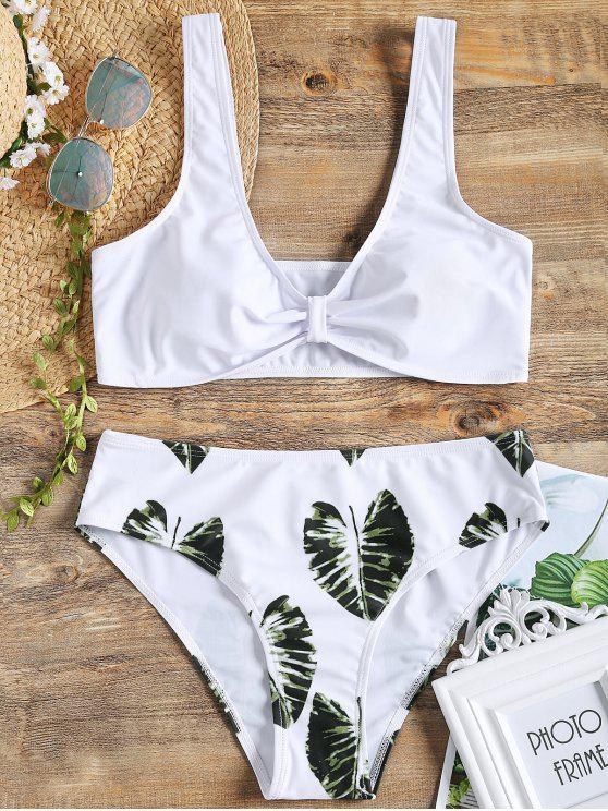 Bikini Imprimé Feuilles de Palmier - Blanc S