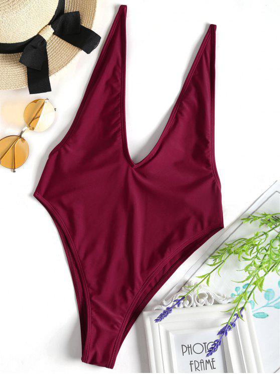 8423fb82ff 23% OFF] 2019 Plunging Neck High Cut One-piece Swimwear In BURGUNDY ...