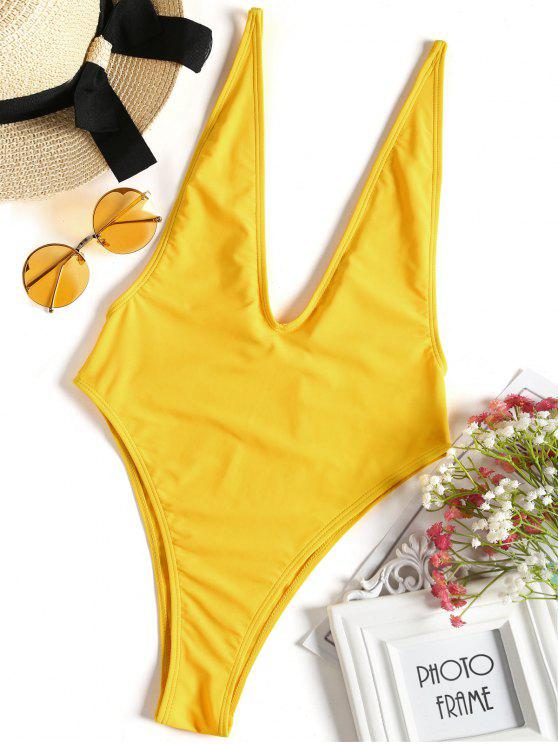 45d9ee0cc8f 15% OFF] 2019 Plunging Neck High Cut One-piece Swimwear In GINGER ...