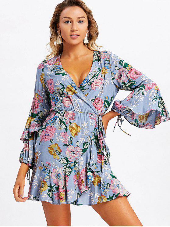 lady Frilled Floral Wrap Mini Dress - STONE BLUE L