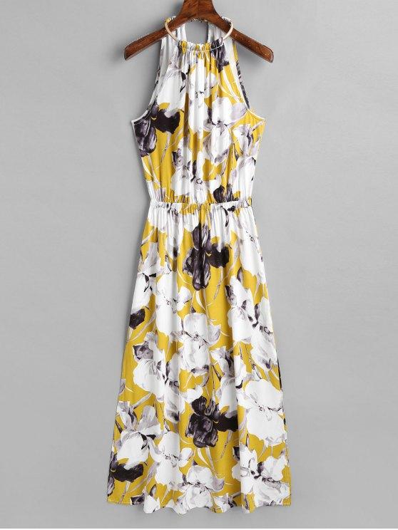 فستان ماكسي بلا أكمام انقسام - الأزهار L