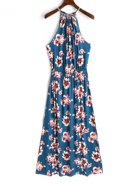fancy Keyhole Back Floral Maxi Dress - FLORAL M