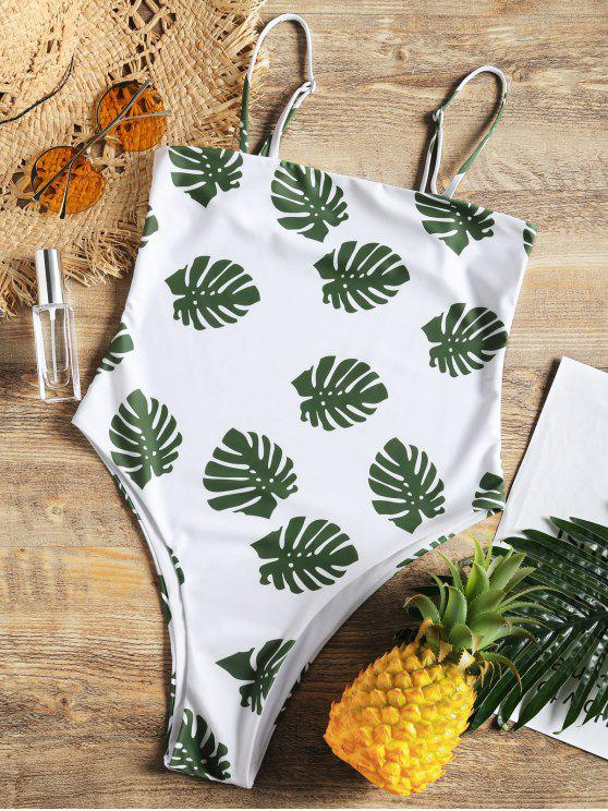 ladies Plam Leaf Print High Cut One Piece Swimsuit - WHITE S