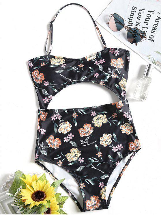 الرسن الأزهار قطع قطعة واحدة ملابس السباحة - أسود S