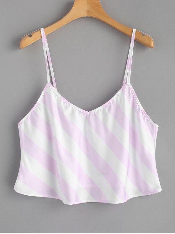 Camisola de alças Flowy listrada - Rosa e Branco L