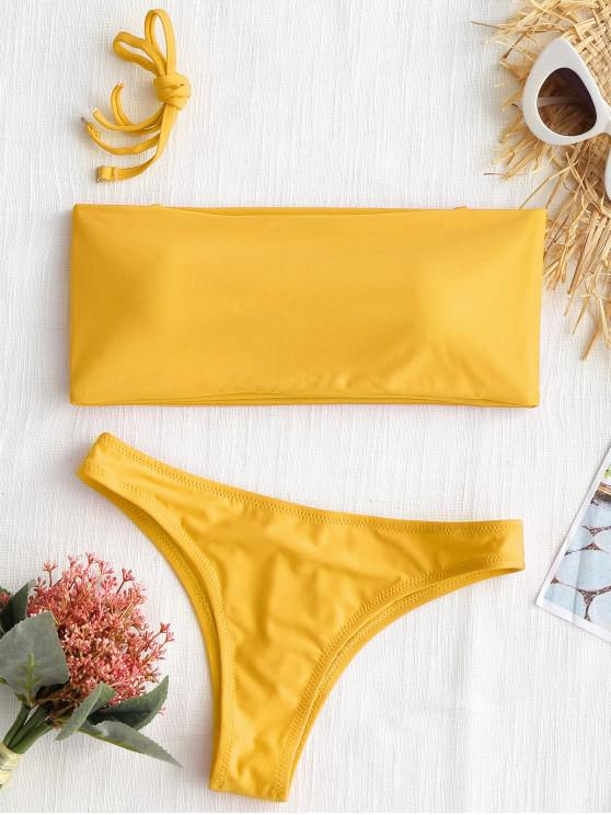 affordable High Cut Bandeau Thong Bathing Suit - YELLOW XS