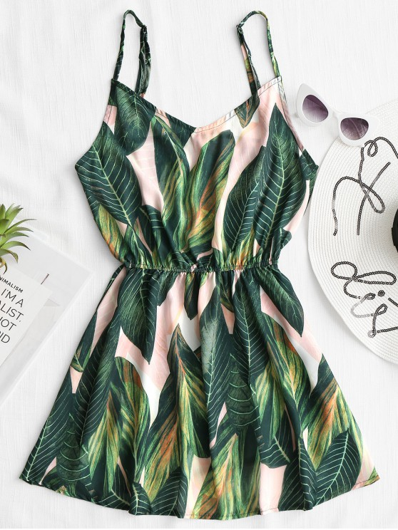 shop Tropical Leaf Print Cami Cover Up Dress - GREEN L