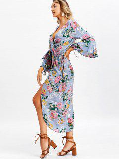 Long Sleeve Floral Frilled Wrap Maxi Dress - Stone Blue M