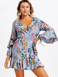 Frilled Floral Wrap Mini Dress - Stone Blue L