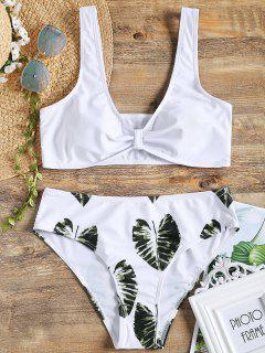 Palmblatt-Print Bowknotförmige Bikini - Weiß M