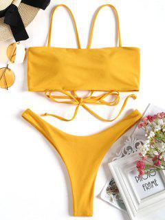 Kreuz Rücken Hohe Geschnitten Tanga Bikini Set - Ingwer-gelb M
