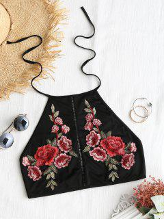 Floral Applique High Neck Top - Black M