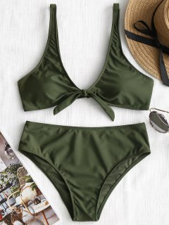 Scoop Knotted Bathing Suit - Army Green S