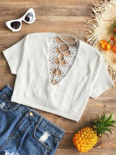Crochet Panel Plunge Lace Up Cropped Cover Up - White L