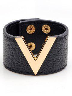 V-Shape Faux Leather Wide Bracelet - Black