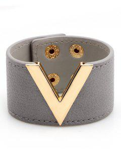 V-Shape Faux Leather Wide Bracelet - Gray
