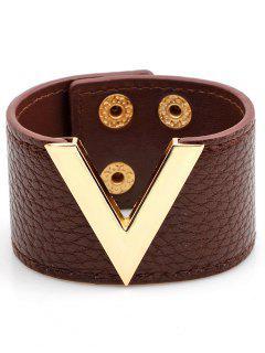 Bracelet Large En Simili Cuir Motif En Forme De V - Brun