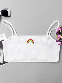 Rainbow Embroidery Crop Slip Top - White S