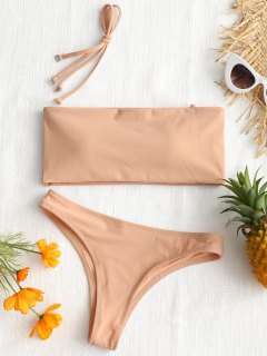 High Cut Bandeau Thong Bathing Suit - Nude Pink M