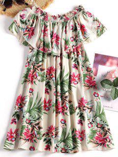 Imprimé Floral De La Mini-robe De L'épaule - Ral1001beige Xl