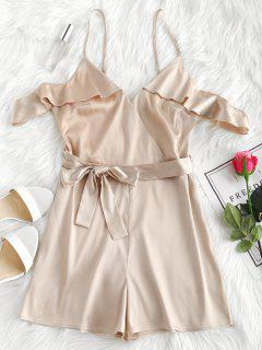 Ruffles Belted Cami Satin Romper - Champagne S